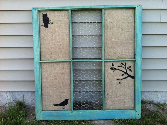 """up cycled old window w/ burlap -- this would be so cute with bulletin board and chalkboard paint for E's """"classroom""""."""