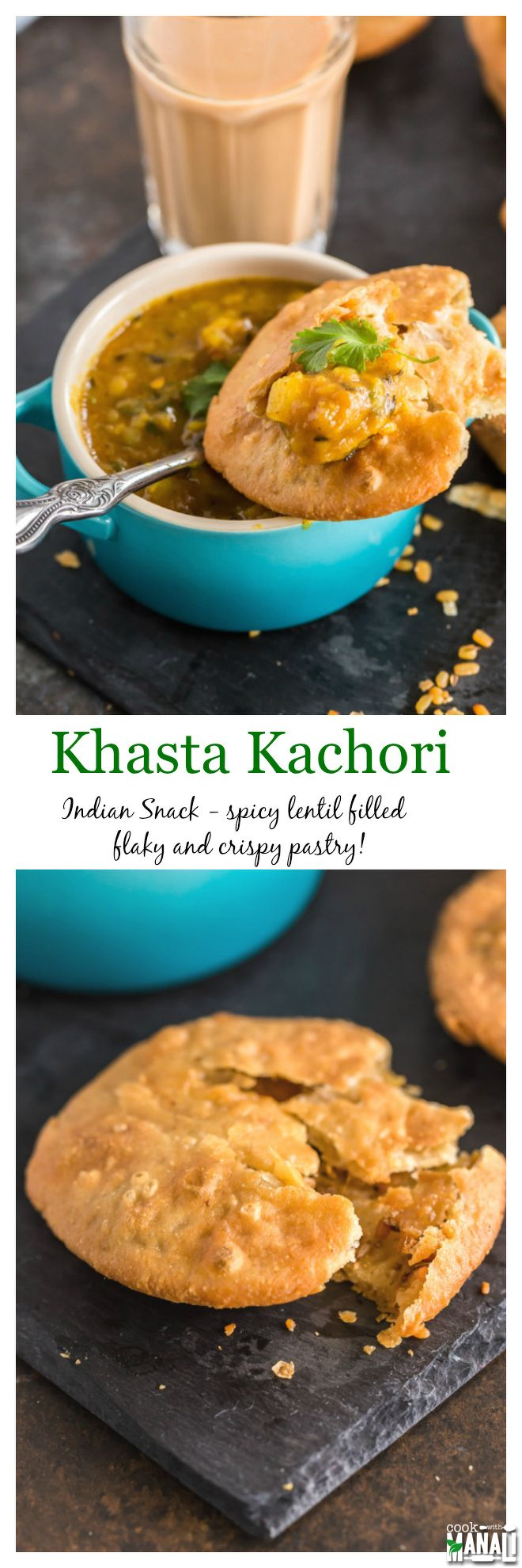 Crispy, flaky Khasta Kachori! This savory lentil filled pastry is best enjoyed with spicy potatoes - a popular breakfast/snack from northern India! #vegan #indian Find the recipe on www.cookwithmanali.com