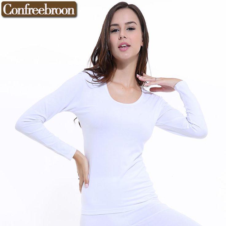 Wanita Pakaian Dalam Termal Top Katun Lembut Elastis Bodysuit Modal Blending Perempuan Tipis Lengan Panjang Pakaian Hangat Di Musim Dingin 096