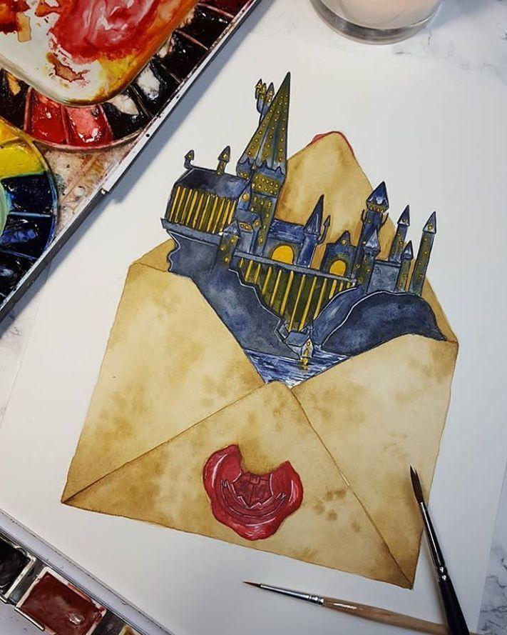 Aquarell Collageboard Aquarell Harry Potter Drawings Harry Potter Tattoos Harry Potter Painting