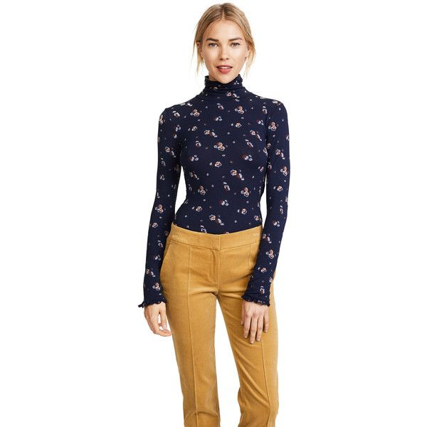 See by Chloe Long Sleeve Turtleneck ($185) ❤ liked on Polyvore featuring tops, sweaters, multicolor blue, blue turtleneck sweater, blue turtleneck, multi color sweater, long sleeve jersey and floral sweater
