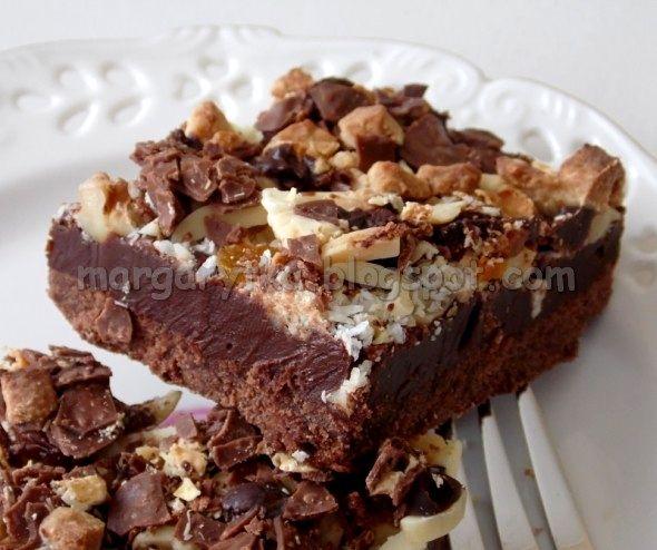 Kulinarne Szaleństwa Margarytki: Mazurek czekoladowo – czekoladowy z bakaliami