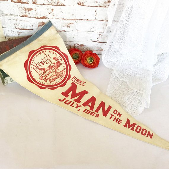 RARE 1969 Vintage Moon Landing Pennant Space Age Apollo 11 Mid Century Neil Armstrong Souvenir Red white Hanging wall art by WonderCabinetArts