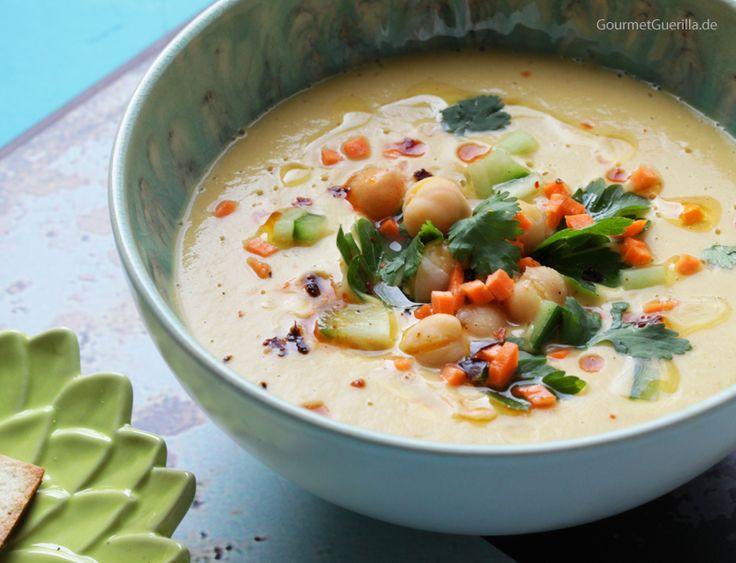 {Vegan & blitzschnell} Samtige Hummus-Suppe. Ein supergesundes Fastfood…