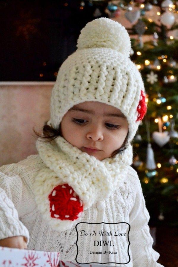 Kinder Bommelmütze Schal Set Häkelanleitung