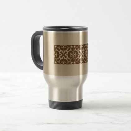 Southwestern Brown Beige Tile Design Travel Mug - diy cyo customize create your own personalize