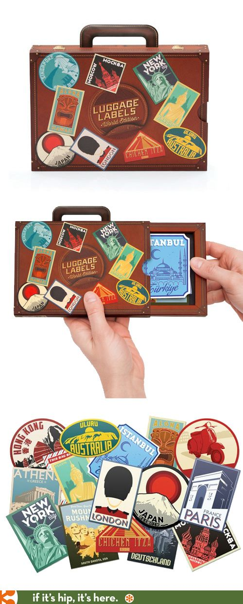 Clever and cute packaging for luggage label stickers.