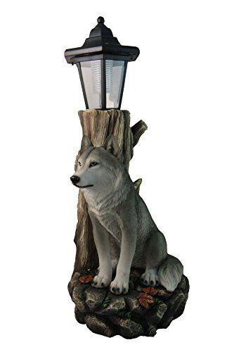 spirit wolf outdoor solar lantern statue by dwk - Outdoor Solar Lanterns