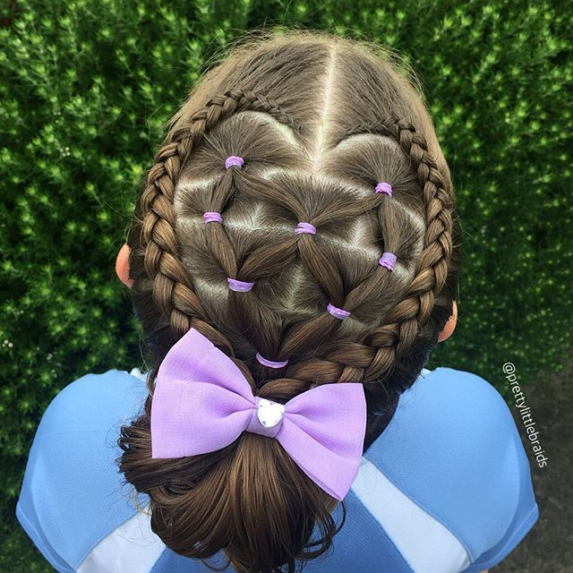 I rarely use elastics these days and was looking for something a little easier today.  This cute heart hairstyle is inspired by my sweet friend Dani @mybraidedprincess5