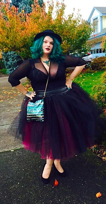 plus size outfit with black mesh bodysuit, black and burgundy tutu, blue hair