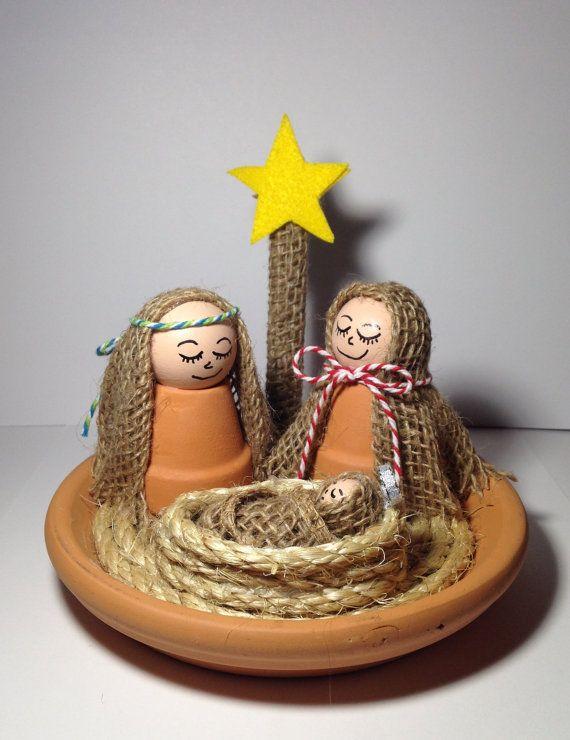 Clay Pot Nativity Scene