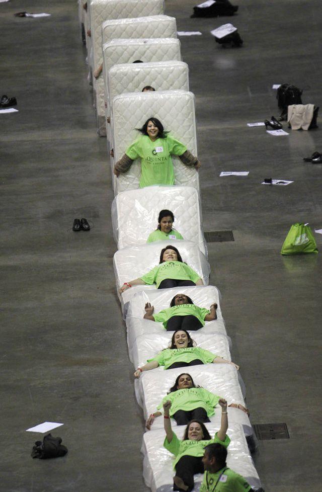 World Record: Largest Human Mattress Dominoes