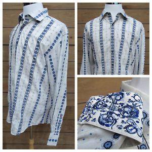 Robert Graham Paisley Button Up Shirt White Flip Cuff Silk Lined Men's 2XL XXL  | eBay