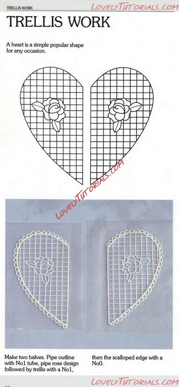 МК Сердце из Королевской глазури -Royal Icing heart (trellis work) - Мастер-классы по украшению тортов Cake Decorating Tutorials (How To's) Tortas Paso a Paso