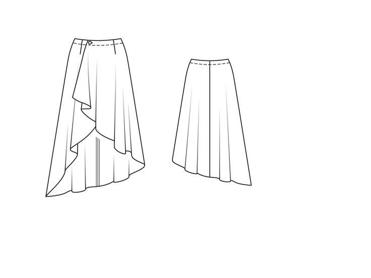 Юбка асимметричного кроя с запахом - выкройка № 108 B из журнала 1/2015 Burda – выкройки юбок на Burdastyle.ru