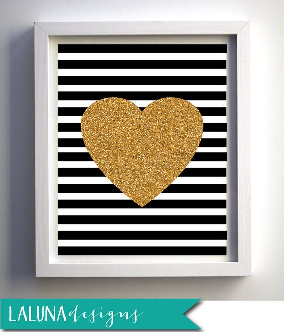 Gold Glitter Heart Print Valentines Day Print by LaLunaDesigns, $10.00