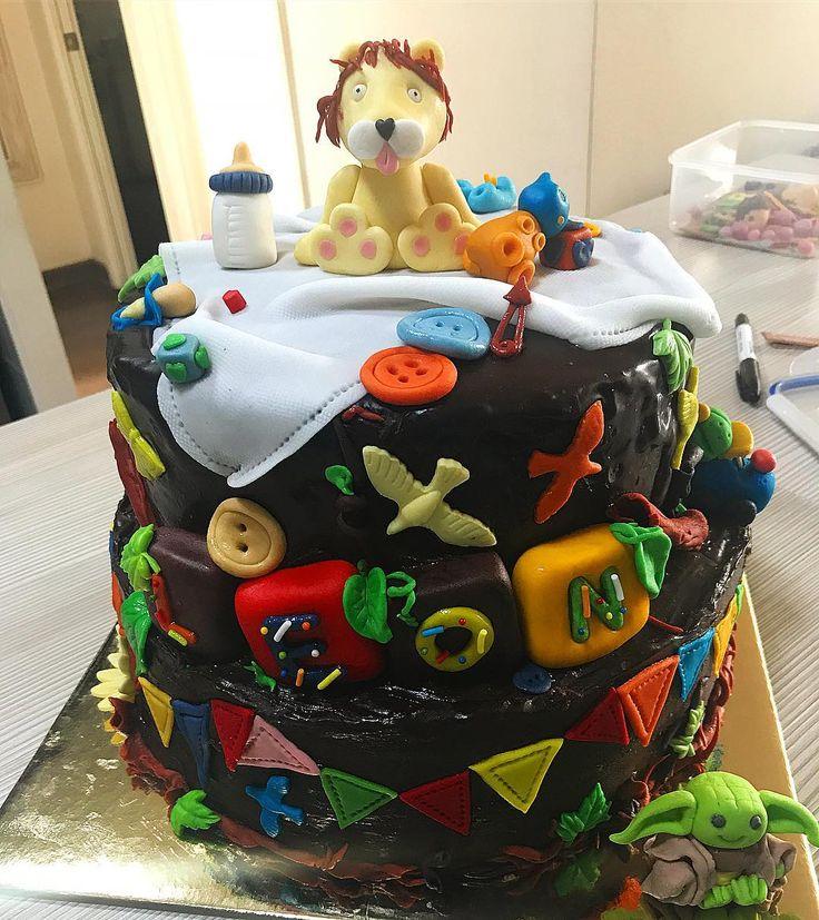Babyshower cake lion fondant
