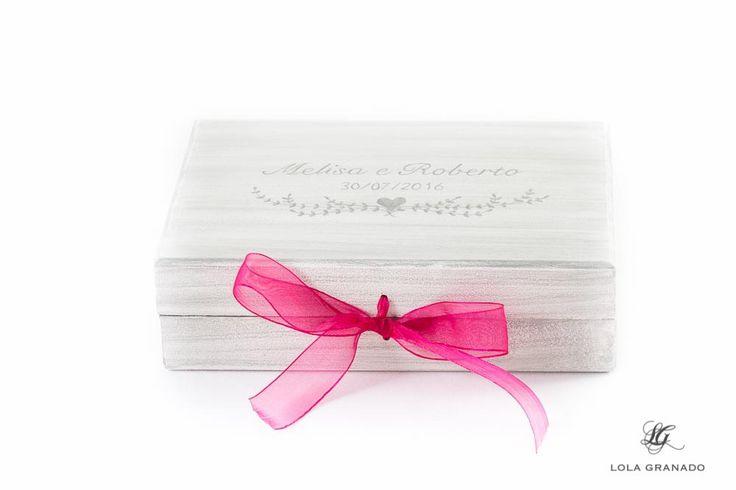 #Caja #anillos, #Boda Melisa y Roberto, pintada a mano. www.lolagranado.com