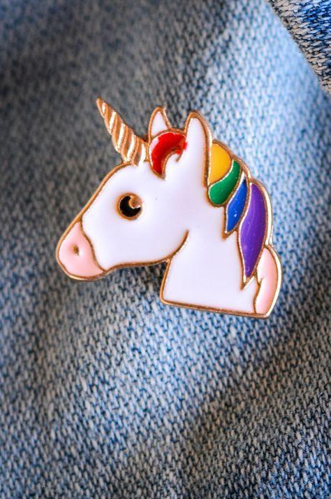 World of Pinatas - Unicorn Rainbow Enamel Pin, $5.99 (http://www.worldofpinatas.com/unicorn-rainbow-enamel-pin/)
