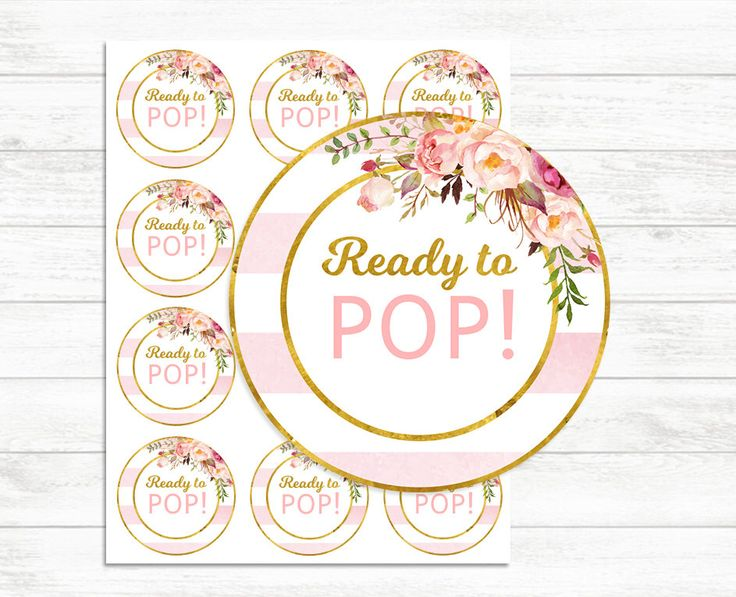 Printable Ready to pop stickers Pink and Gold, Ready to ...