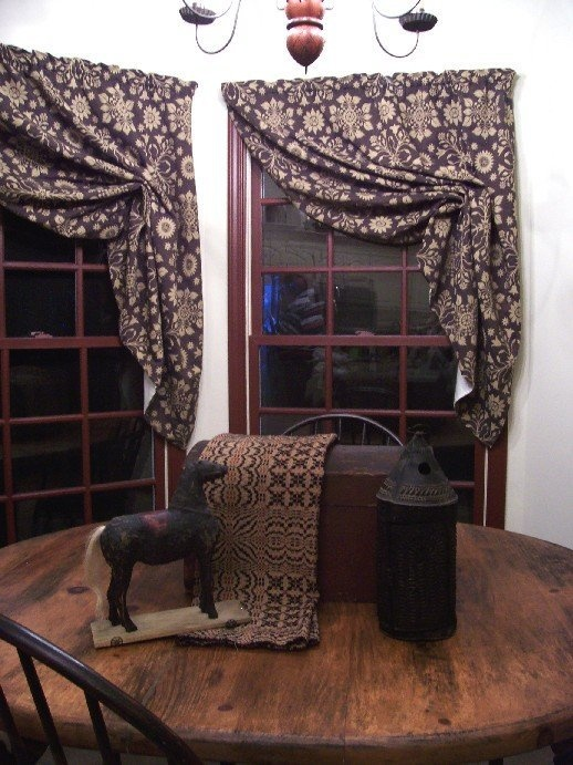 Prim Curtains...and The Coverlet, Horse U0026 Lantern On The Table.