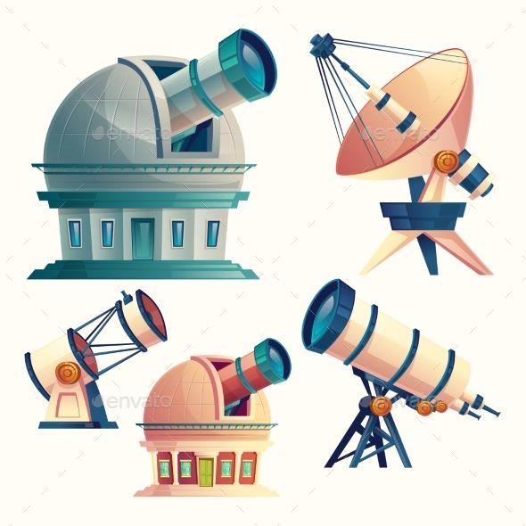 Vector Cartoon Set With Astronomical Equipment Satellite Dish Astronomical Telescope Planetarium