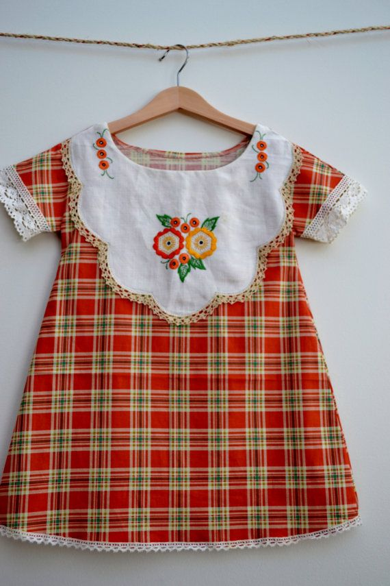 Girls dress diy with a vintage embroidered handkerchief