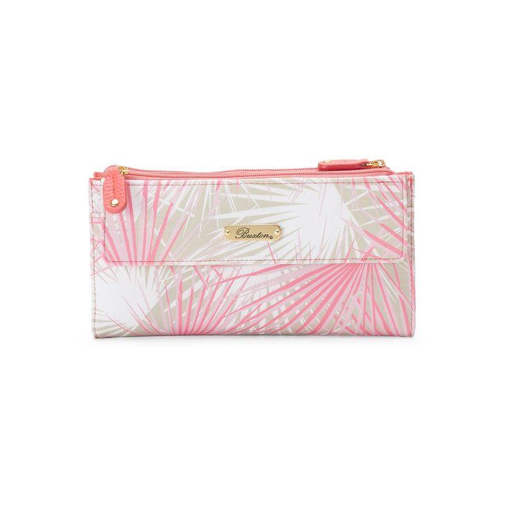 Buxton Tropical Palms Cosmopolitan Wallet, Women's, Light Red