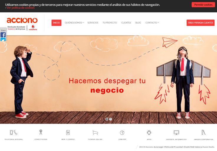 Proyecto de diseño web corporativo para Acciono, distribuidor oficial de Vodafone Empresas.  La página es visualmente muy atractiva ya que hemos cuidado el diseño y hemos utilizado imágenes de alta resolución.
