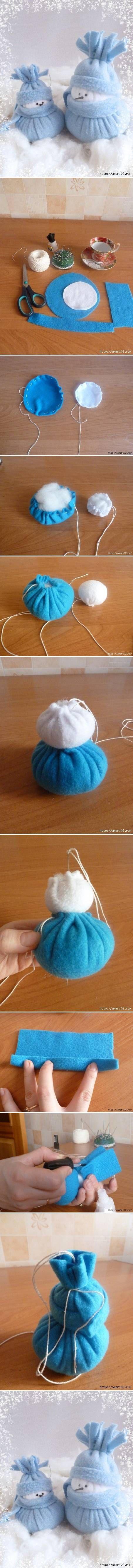 Como hacer fieltro Muñeco de nieve de Navidad Casa paso a paso las INSTRUCCIONES de la Decoración tutorial DIY Como hacer fieltro del muñeco ...