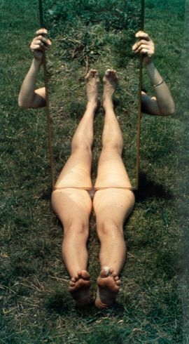 Joan Jonas  Mirror Piece I, 1969. Chromogenic print, unique, 40 x 22 1/4