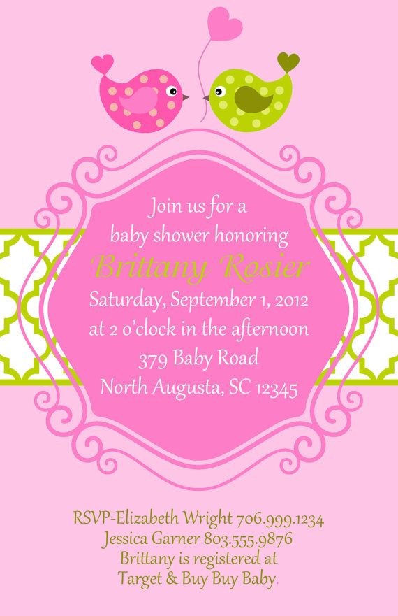 Pink and Green Baby Bird Shower Invitation (set of 20 invites)