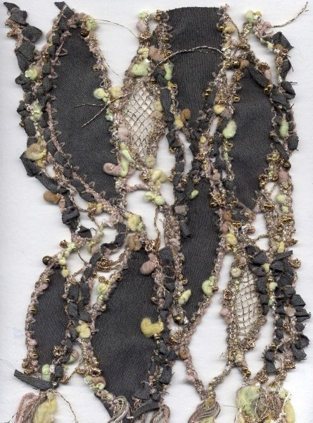 Experimenting with combining fabric with lace and beads