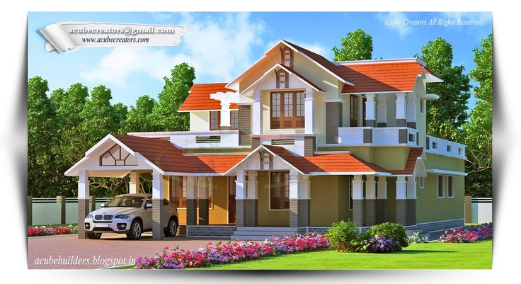 Get #Kerala #Home type best 3d elevation design like house, villas, flats, apartments etc.