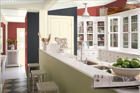 Look at the paint color combination I created with Benjamin Moore. Via @benjamin_moore. Wall: Hot Apple Spice 2005-20; Accent Wall: French Beret 1610; Trim: White Rock 918; Ceiling: White Dove OC-17.
