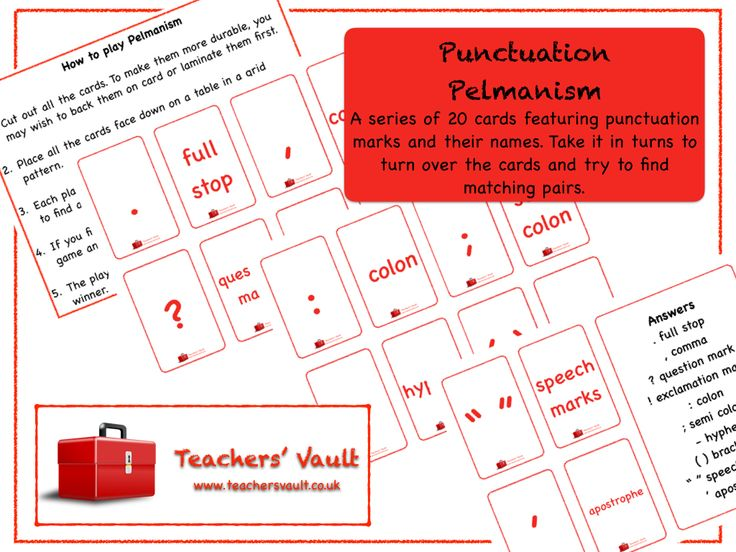 Punctuation Pelmanism Game - KS1, KS2 English Spelling, Punctuation and Grammar Teaching Resources, Activities and Games