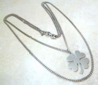 Vintage Double Stranded Four Leaf Clover Statement Necklace By Monet.