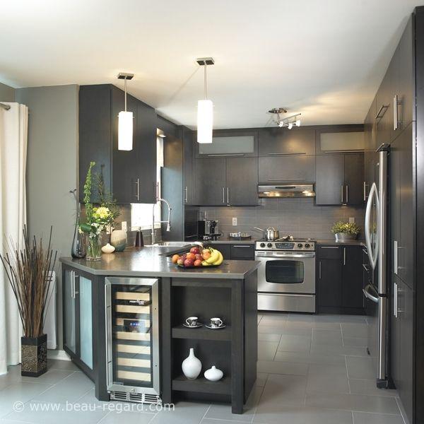 Armoire en bois plaqué, modèle d'armoires de cuisine, placage de bois gris