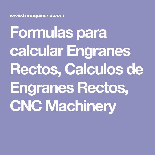 Formulas para calcular Engranes Rectos, Calculos de Engranes Rectos, CNC Machinery