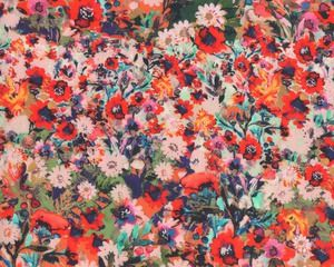 Designer-Viskose-Batist aus Italien DESIDERIA, Sommerblumen, rot-orange
