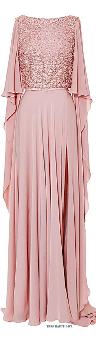 Elie Saab Blush Embroidered Cape Sleeve Gown ♔ Resort 2015