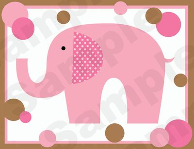 Pink Brown Polka Dot Elephants Wall Border Decals Baby Nursery Kids Room Decor | eBay