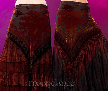 "Burgundy Multi Velvet Scarf MD1711     $29.99  Triangular burnout velvet burgundy multi colored scarf that doubles as a shawl with 8"" fringes. Floral pattern. 72"" width, hangs 34"".  MoondanceBellydance.com"