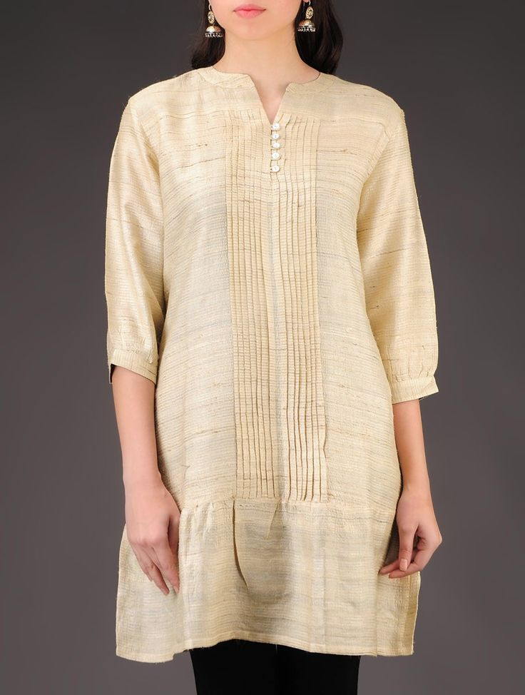Buy Beige Tussar Silk Pleated Natural Dyed Tunic Apparel Tunics & Kurtas Online at Jaypore.com