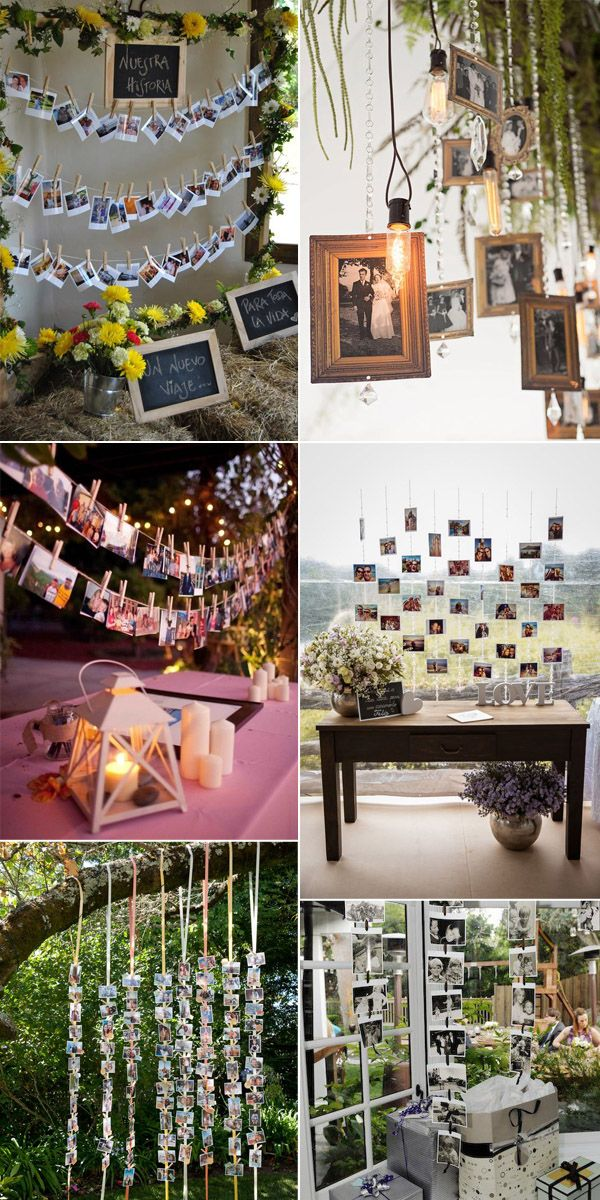 ideas for rustic wedding reception%0A Top    Super Cool Photo Display Ideas for Your Wedding