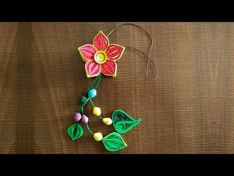 DIY : How To Make Beautiful Flower Danglers Using Paper Art Quilling - YouTube