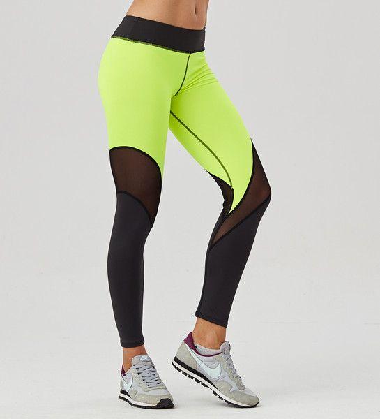 Legginsy Twotone Fluo Green Tulle - Carpatree - Spodnie i spodenki sportowe