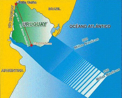 EXTENDIENDO NUESTRA PRADERA AZUL  LÍMITE EXTERIOR DE LA PLATAFORMA CONTINENTAL  En pleno proceso de negociación. El reclamo se basó en mediciones de profundidad y geofísicas realizadas por la Armada Nacional para determinar el alcance de la Plataforma Continental uruguaya.