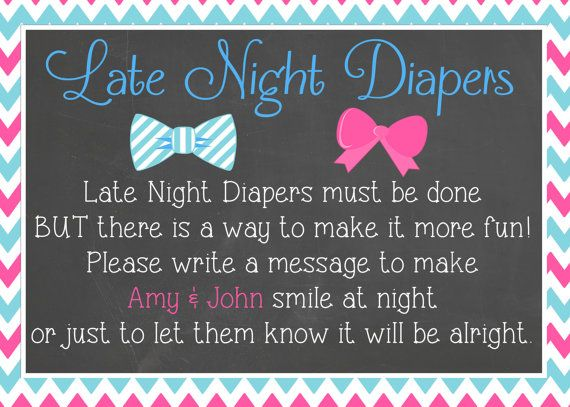Bowties or Bows Late Night Diapers Baby Shower by LaLaExpressions