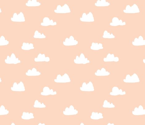Clouds - Pale Peach fabric by papersparrow - so random but I love it, cute baby blanket maybe